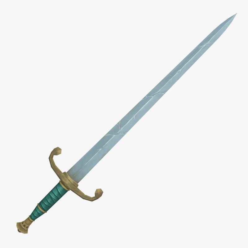 stylized long sword 3d 3ds