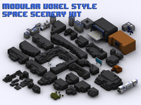 Modular voxel-style space scenery components & buildings tileset kit