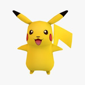 3d pikachu pokemon modeled model