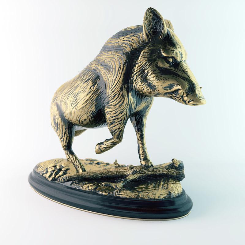 3d model boar figurine