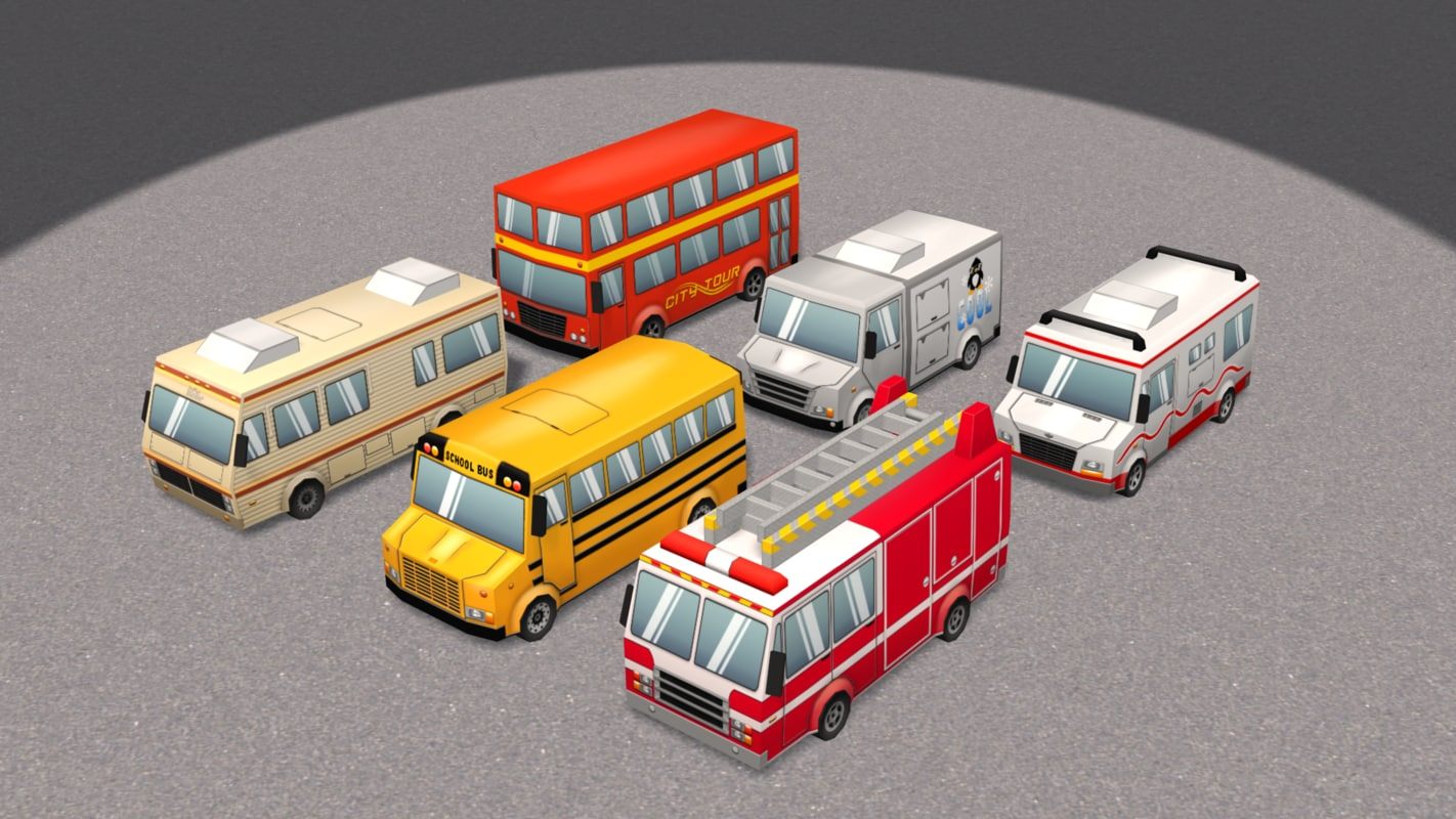 x low-poly cartoon cars