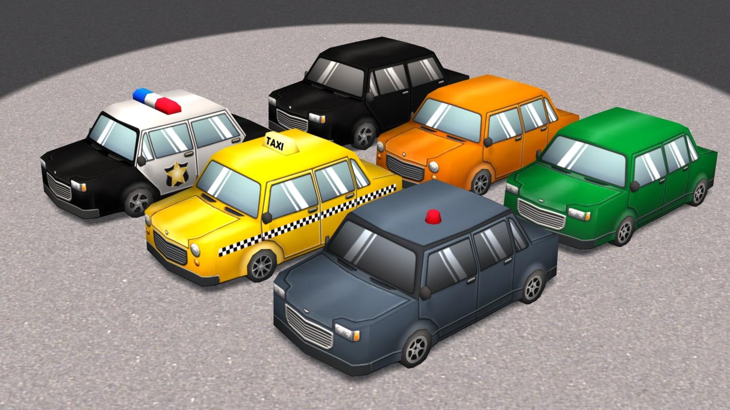 3d cartoon cars 2 model