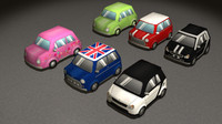 low-poly cartoon cars 3d fbx