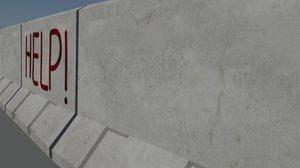 modular concrete barrier 3d fbx