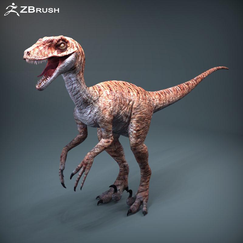 3d model of raptor dinosaur zbrush version
