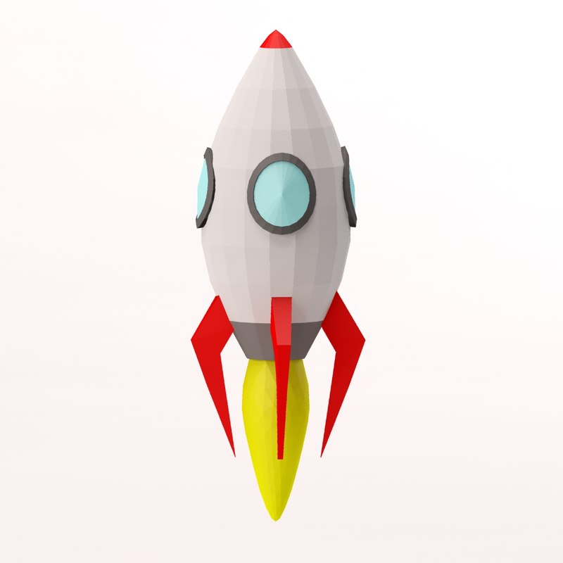 3d model cartoon toon rocket