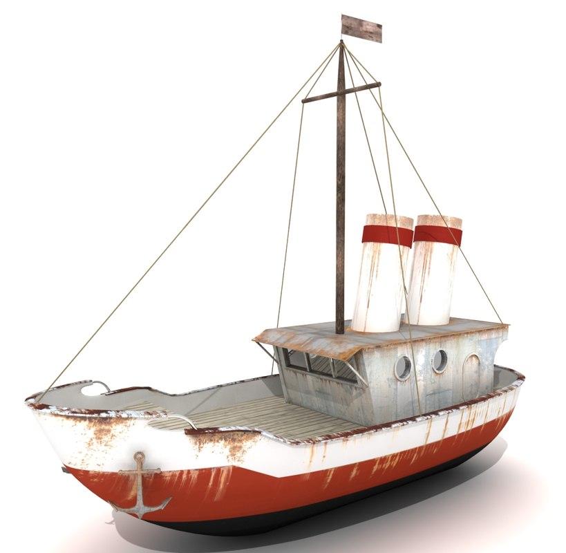 3d 3ds rusty boat