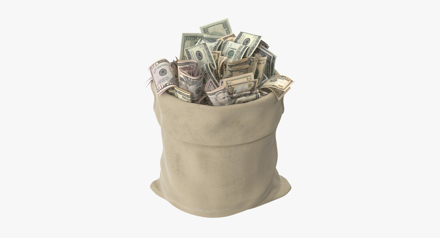 3d model open money bag 01