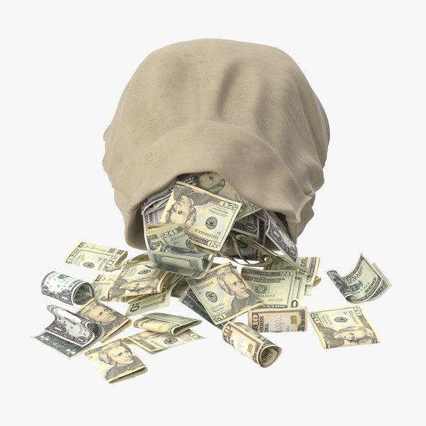 open money bag 03 3d model