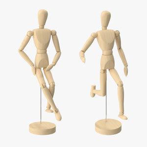 3d wooden mannequin 2 pose model