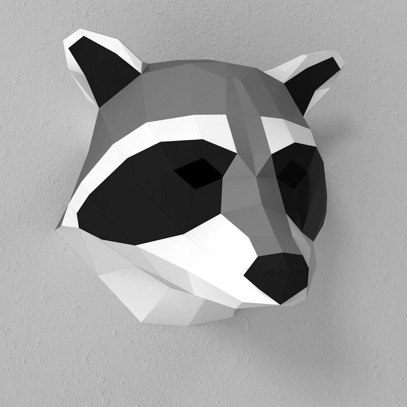 3d model of paper raccoon head