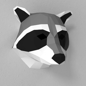 3d model of paper raccoon head
