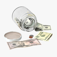 3d model glass jar currency