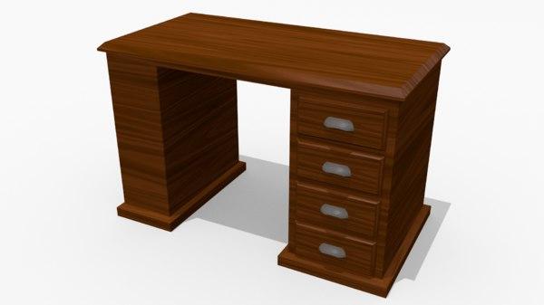 wooden desk 3d obj