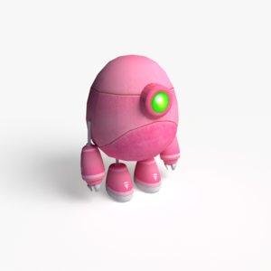 3d model of cute pink robot