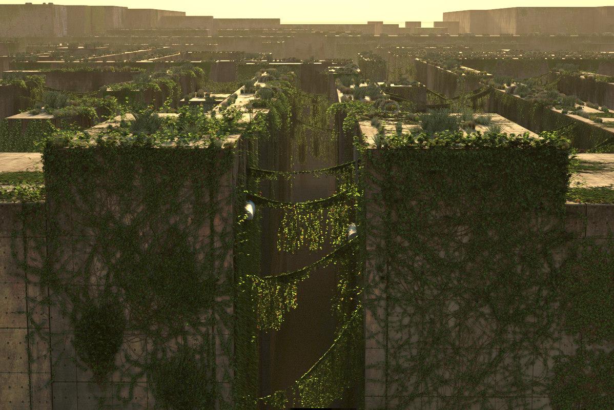 3d model plants walls bushes