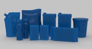seven pack milk box 3d model