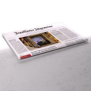 frankfurter allgemeine newspaper folds 3d max