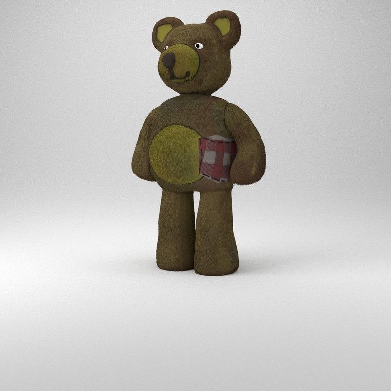 3d dystopic teddy bear