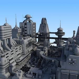 3d block futuristic city