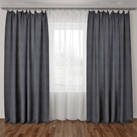 curtains tulle rod 3d max