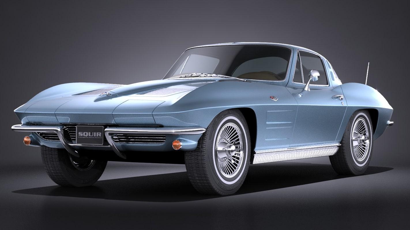 chevrolet corvette c2 3d model. Black Bedroom Furniture Sets. Home Design Ideas
