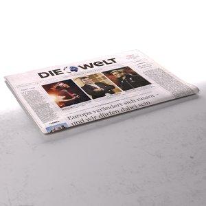 die welt newspaper folds 3d model