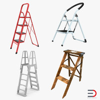 3d step ladders model