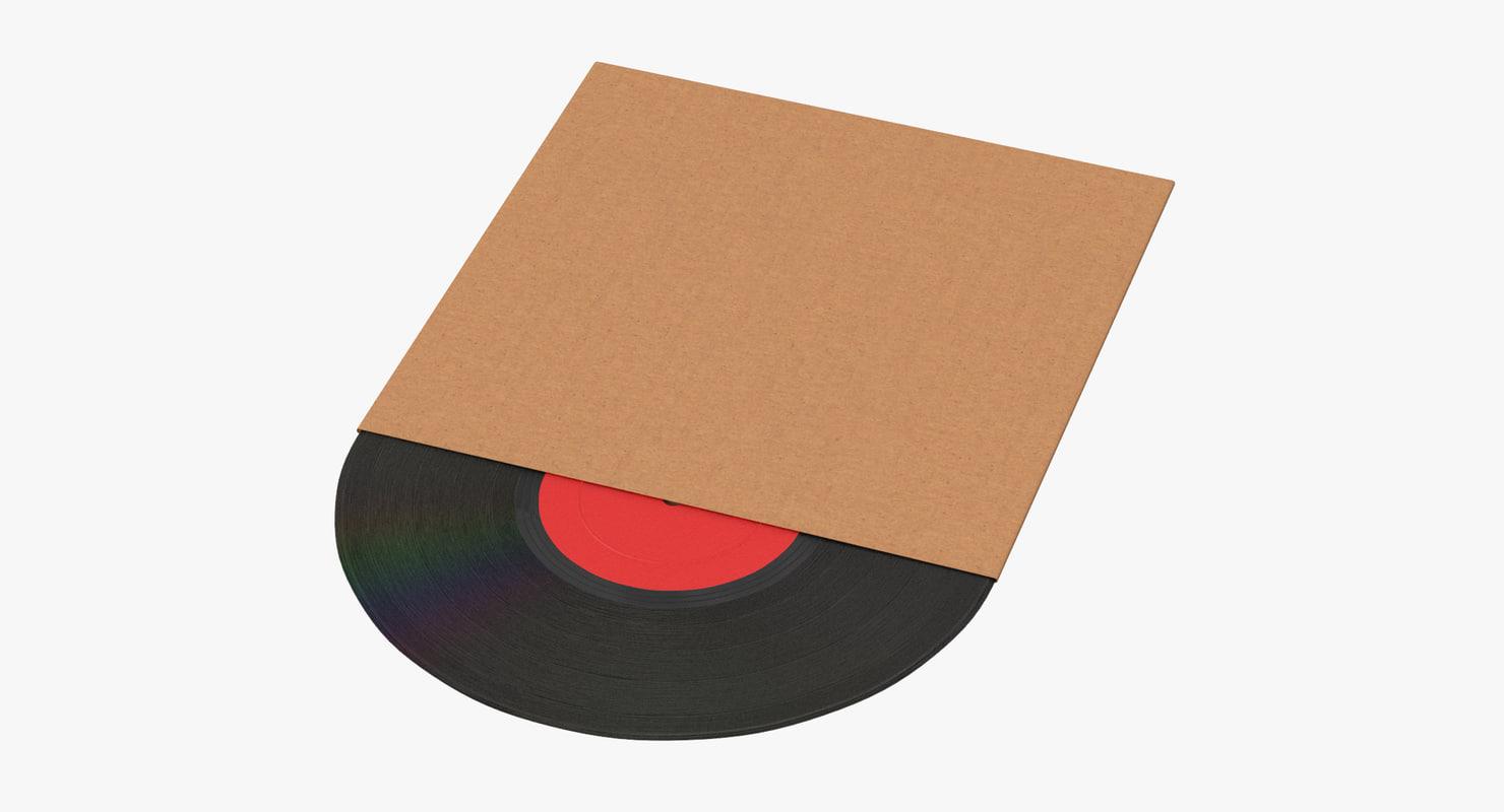 vinyl lp cardboard sleeve 3d model