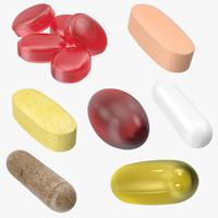 vitamin pills 3d c4d