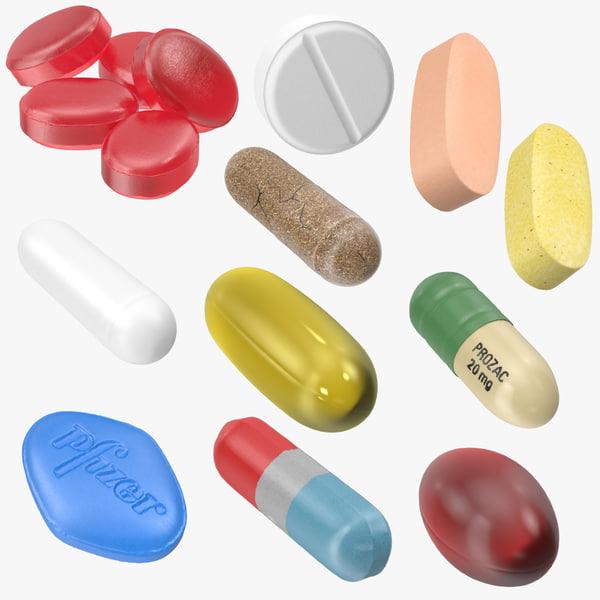 3d model pills vitamin