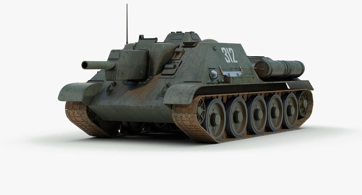 ww2 su 122 assault 3d fbx