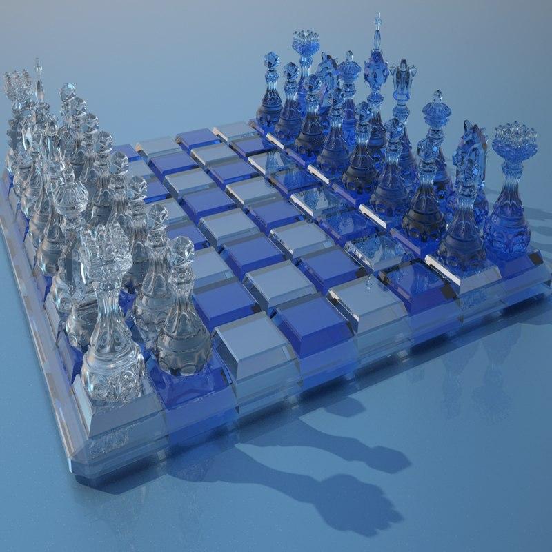 3d glass chess figures desk model