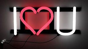 neon sign love 3d model