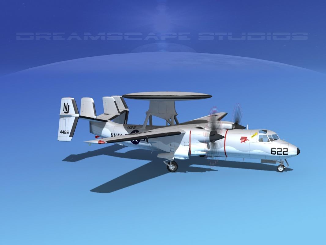 grumman e-2c hawkeye 3d model