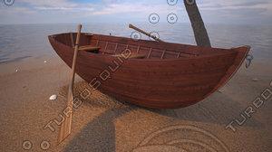 3d modern wooden boat