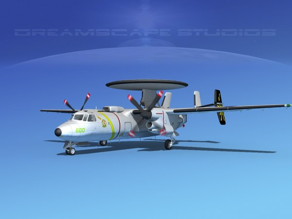 grumman e-2c hawkeye 3d model