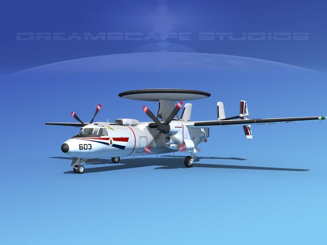 3d model of grumman e-2c hawkeye