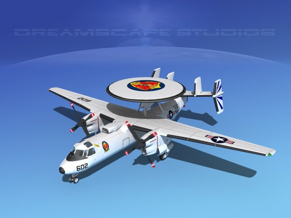 3d model of grumman e-2c hawkeye