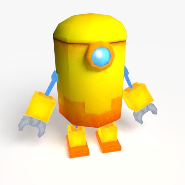 3d model cute yellow robot robo
