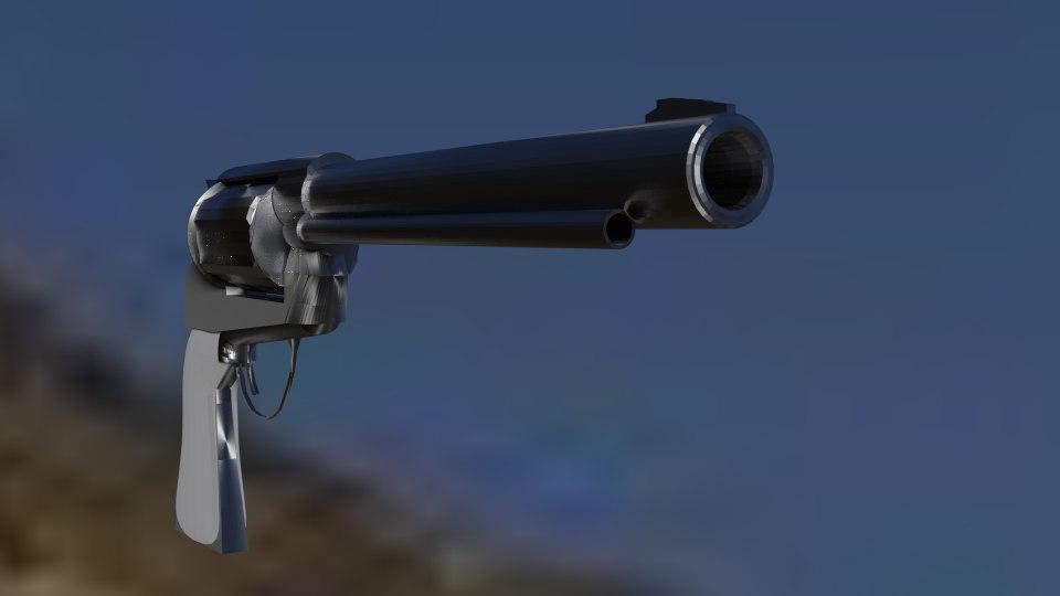 free old west revolver 3d model