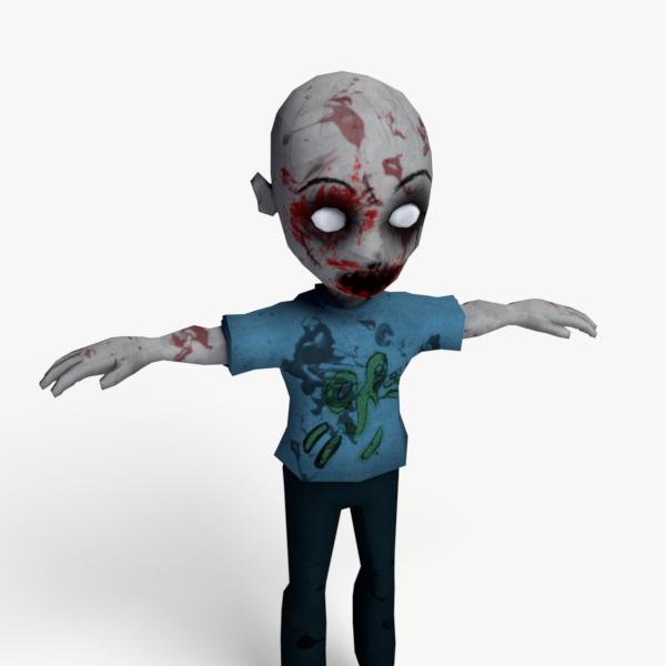 cartoon zombie obj