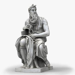 statue moses michelangelo buonarotti 3d obj