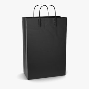 3d model bag handles black