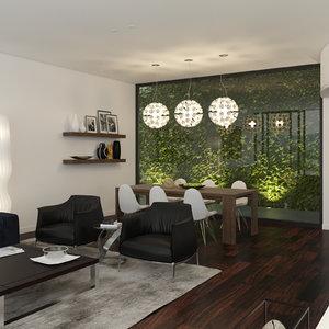 corona scene living room 3d model