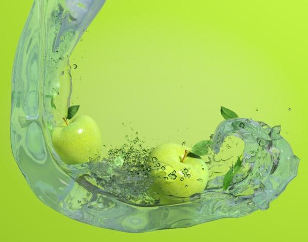 3d scene apples water model