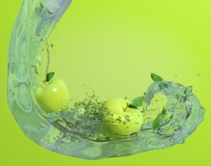 3d scene apples water model