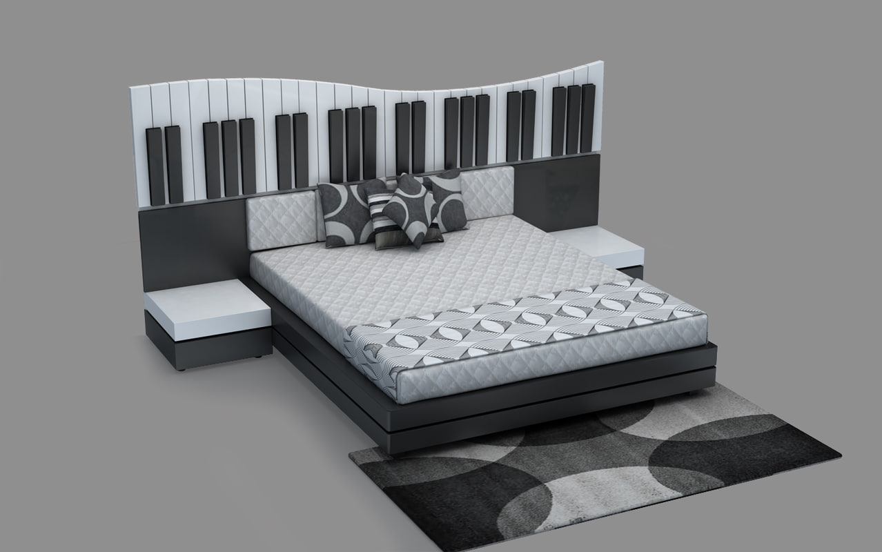 contemporary bed piano theme 3d 3ds