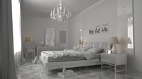 3d model of white bedroom