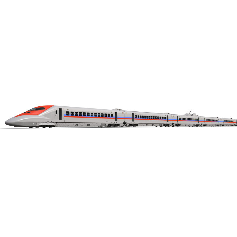 3d speed train generic rigged model